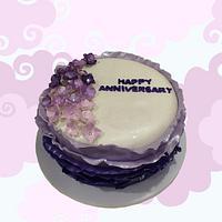 Purple Ruffles Anniversary Cake