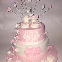 Butterflies and lace cake