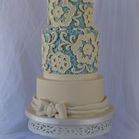 Blue and Ivory Lace Cake