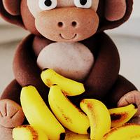 Monkey figurine with banana's