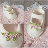 Pink and White Baby Shoes