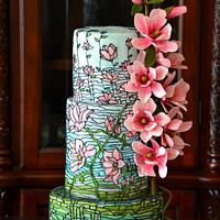 Magnolias Stained Glass Cake