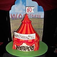 Big top tent cake , circus tent cake