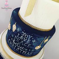 Gold Christmas Chalkboard Cake by CakeyBakey Boutique