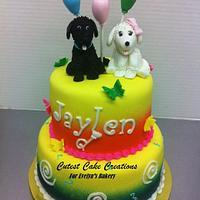 Double puppy birthday cake.