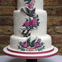 Old Skool Tattoo Art Wedding Cake