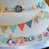 Bunting Wedding Cake by Sylvania Cakes - Exeter