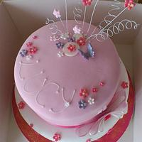 Lucys 21st two tier pink cake