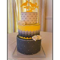 Yellow and Grey Ombre Chevron