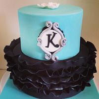 Aqua blue and black birthday cake
