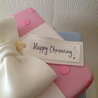 Boy & girl Christening cake by lucycoogancakes