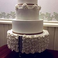 Wedding cake with white flower