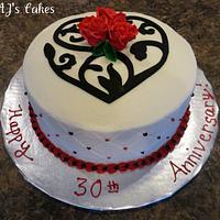Swirly Heart Anniversary Cake