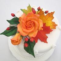 Fall Wedding Cutting Cake
