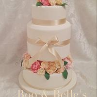 Pretty Peonies and Roses cake