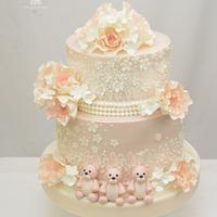 Vintage Blush Wedding Cake with Three Little Bears
