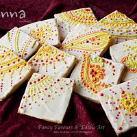 Piped chocolate henna cookies