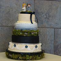 Navy And Ivory personalized Wedding Cake