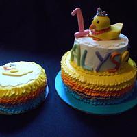 Princess Duck First Birthday Cake & Smash Cake