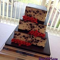 Square 3 Tier Skull Airbrushed Wedding Cake
