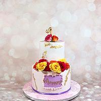 Marbled pink birthday cake