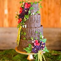 Tree Trunk Floral Cake