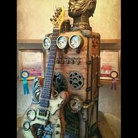Steampunk Freestanding Guitar and Amplifier