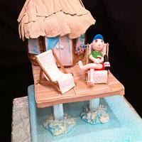 tiki hut cake