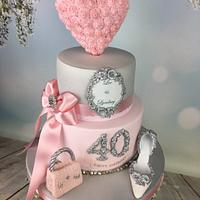 Romantic pink and silver engagagement /40th cake  by Melanie Jane Wright