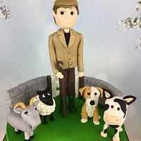 Farmer and his animals 30th birthday cake