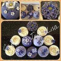 Purple, Lilac & handpainted gold cupcakes