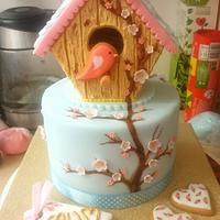 Birdhouse cookie cake!