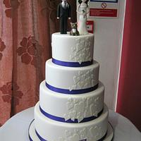 4 Tier Ivory & Purple Heart Cascade Wedding