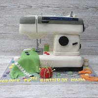 Sewing machine cake.