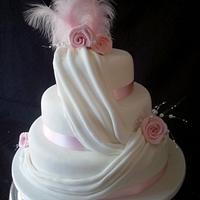 drapes wedding cake