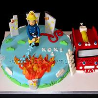 Fireman Sam with Jupiter cake by tweetylina