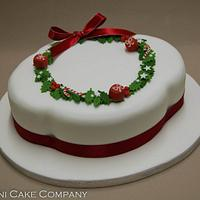 Large Holly Wreath Fruit Cake