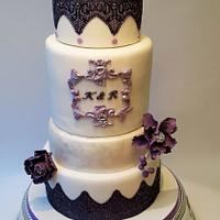 Pearly purple lace wedding cake