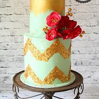 Mint Green &Gold Birthday Cake