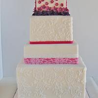 Purple Pink Hydrangea Lace Cake