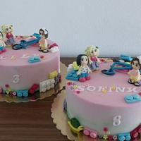 Double lego girl cake