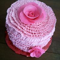 Ruffles and Roses Thank You Cake