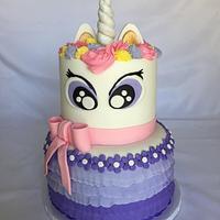 Unicorn with purple ruffles