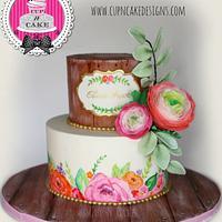 Ranunculus baby shower cake