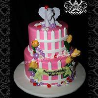 Flowers & Fences Birthday Cake w/Elephant topper