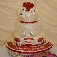 White Chocolate Love Birds and Tattoo inspired Love hearts with Banner