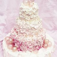 Pink Bubbles Wedding Cake by Sweet Samantha