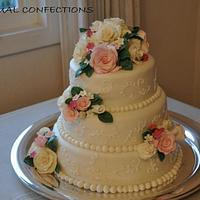 Roses and Scrolls Wedding Cake