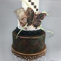 """ Vintage metalic Butterfly"" cake"