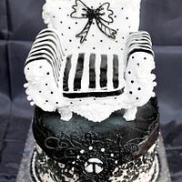Black and White Chair Birthday Cake by megumi suzuki